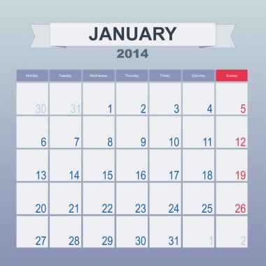 Calendar to schedule monthly. January 2014