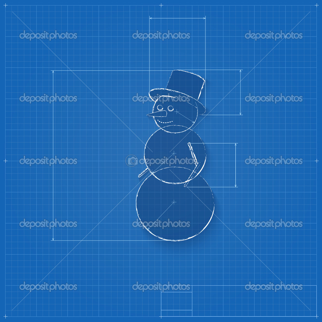 Snowman symbol drawn as blueprint stock vector master erik snowman symbol drawn as blueprint stylized drafting of gift sign on blueprint paper vector illustration for holiday packaging supplies malvernweather Images