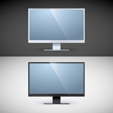 Vector computer displays on black and white backgrounds