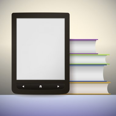 Electronic book reader with a stack of books. You may add your own text or picture.