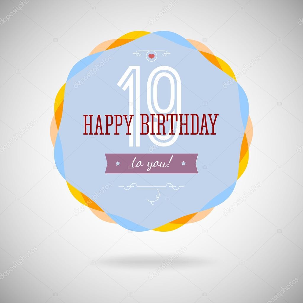 grattis på 19 årsdagen gratulationer badge för de nitton år — Stock Vektor © master erik  grattis på 19 årsdagen