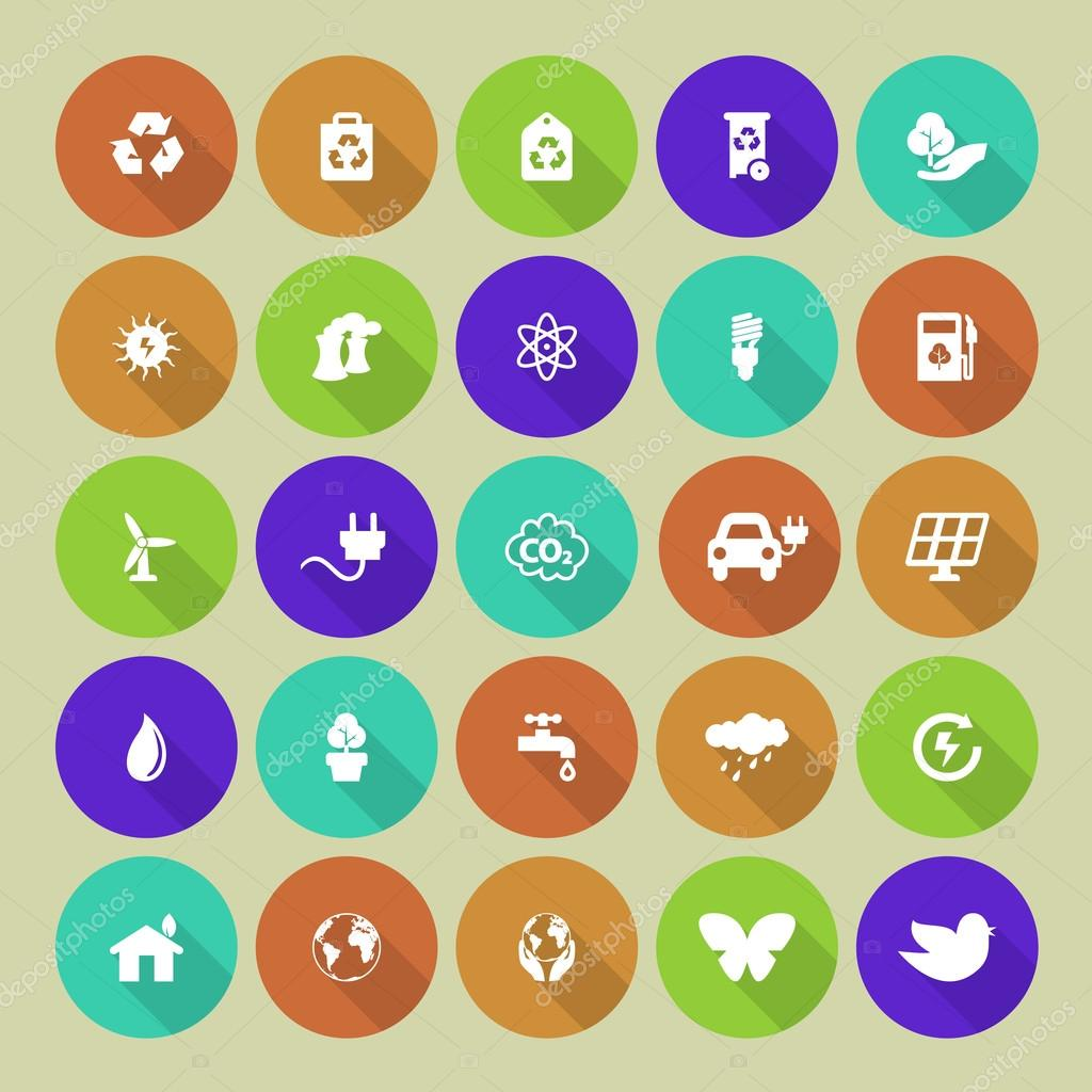 Set of colored ecology icons on round background