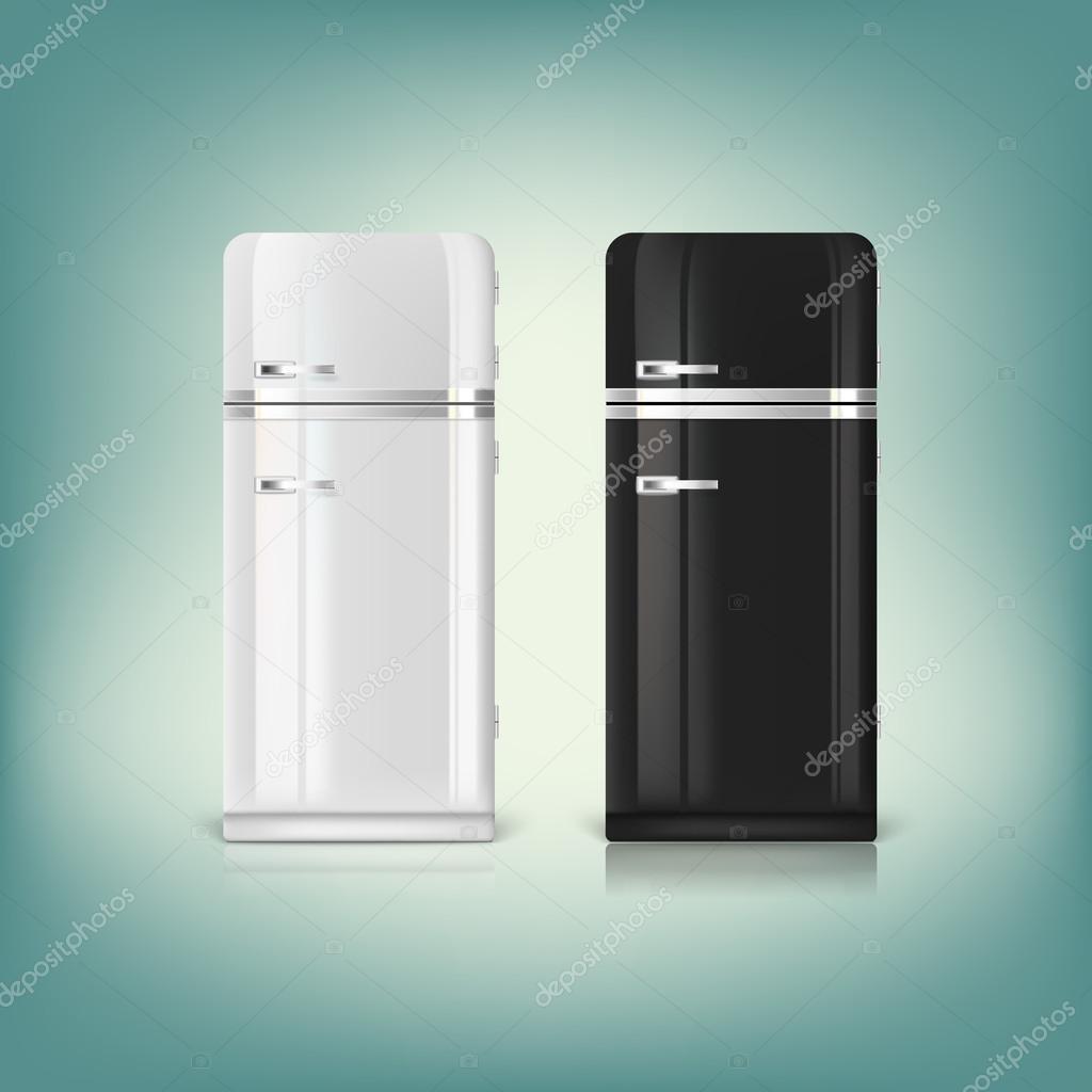Retrokühlschränke  Sammlung von stilvollen retro Kühlschränke — Stockvektor © master ...