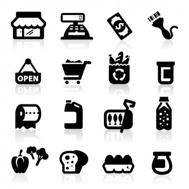 Supermarket icons set Elegant series