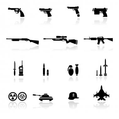 Icons set Weapons stock vector