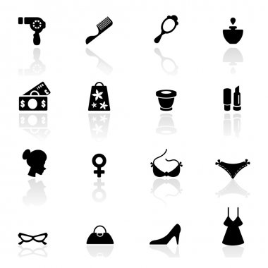 Icons set woman accessories