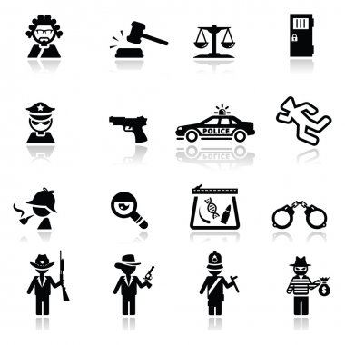 Icons set law and justic