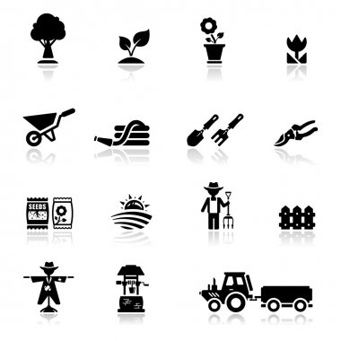Icons set argiculture and gardening