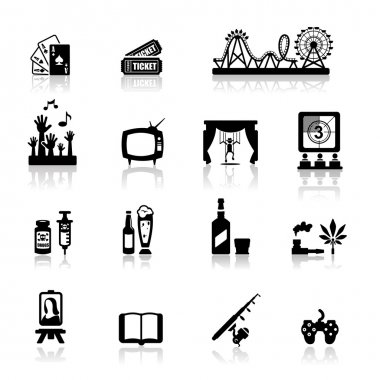 Icons set fun and entertainment