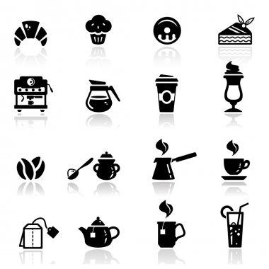 Icons set cafe icons