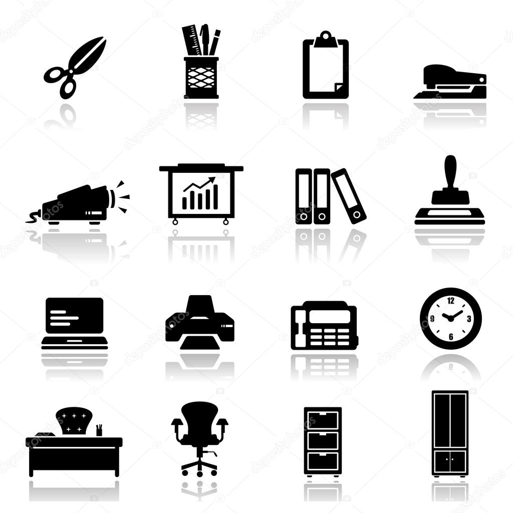 Icons set Office equipment and furniture