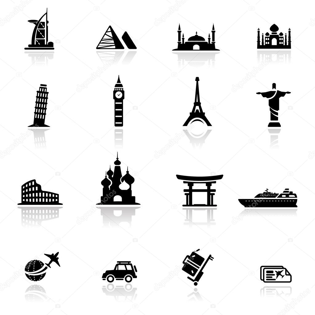 Icons set landmarks and cultures