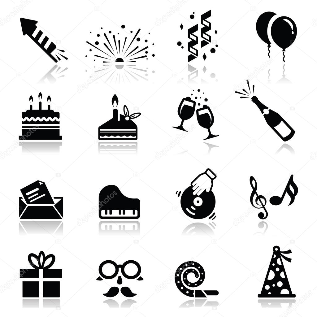 Icons set Birthday and celebration