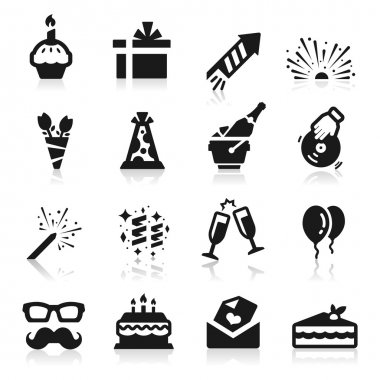 Birthday icons clip art vector