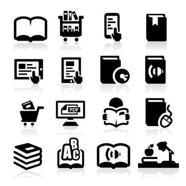 Books icons set Elegant series