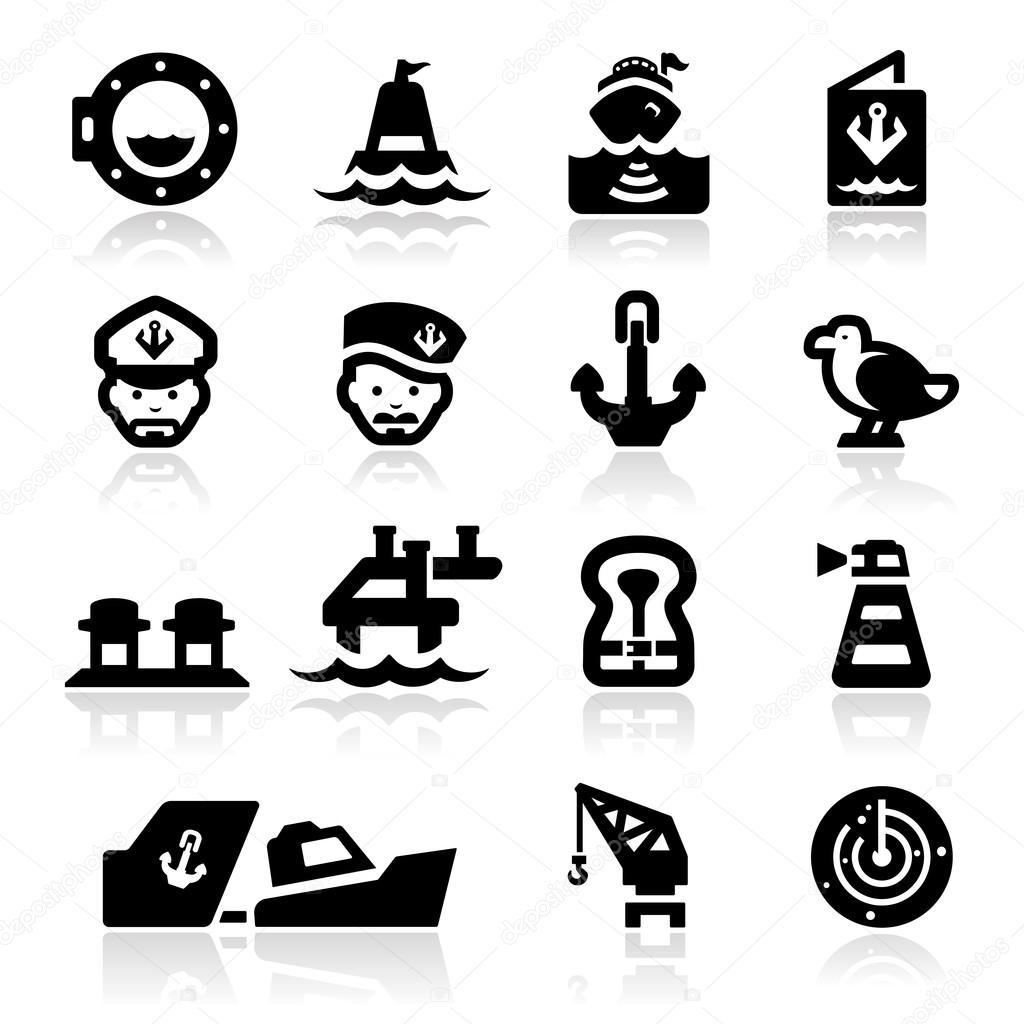 Nautical icons set Elegant series