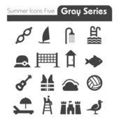 Série pěti ikony šedé letní