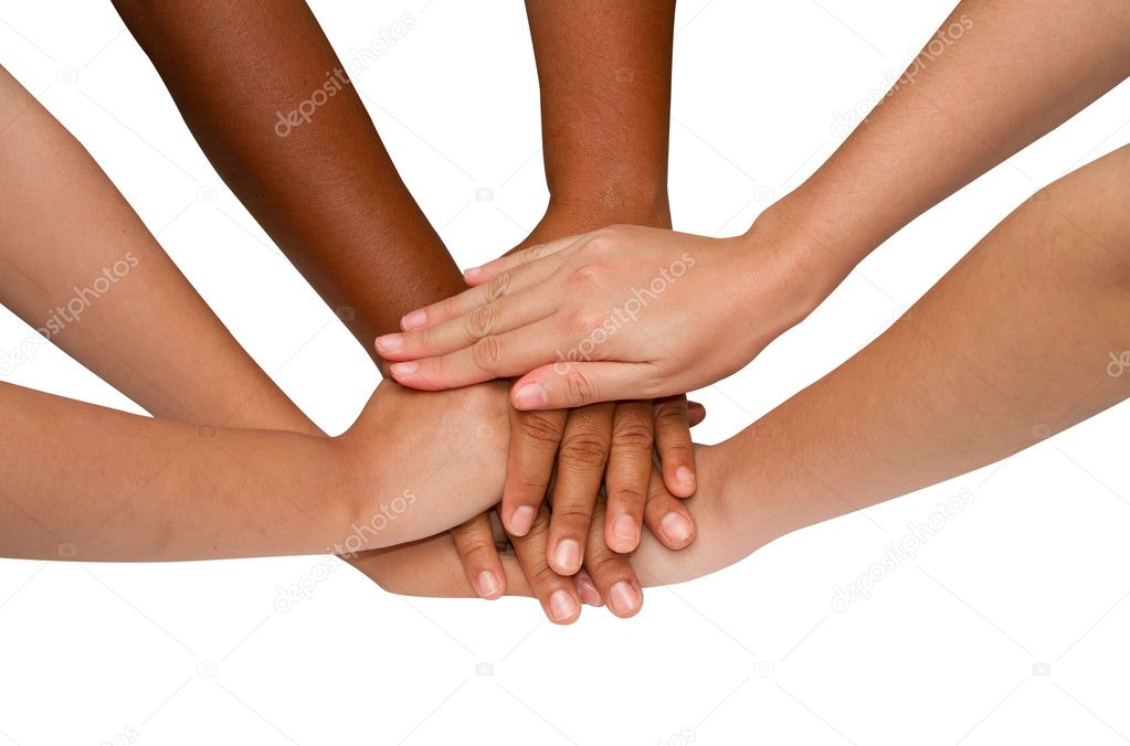 Teamwork and team spirit ,handshake in a group after work succe