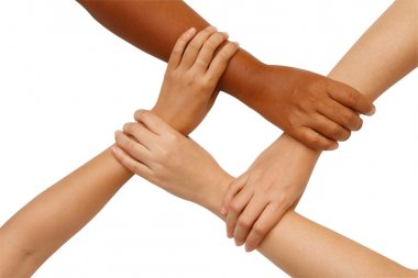Hand coordination,Multiracial hands holding in unity
