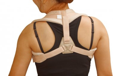 woman wearing clavicle brace