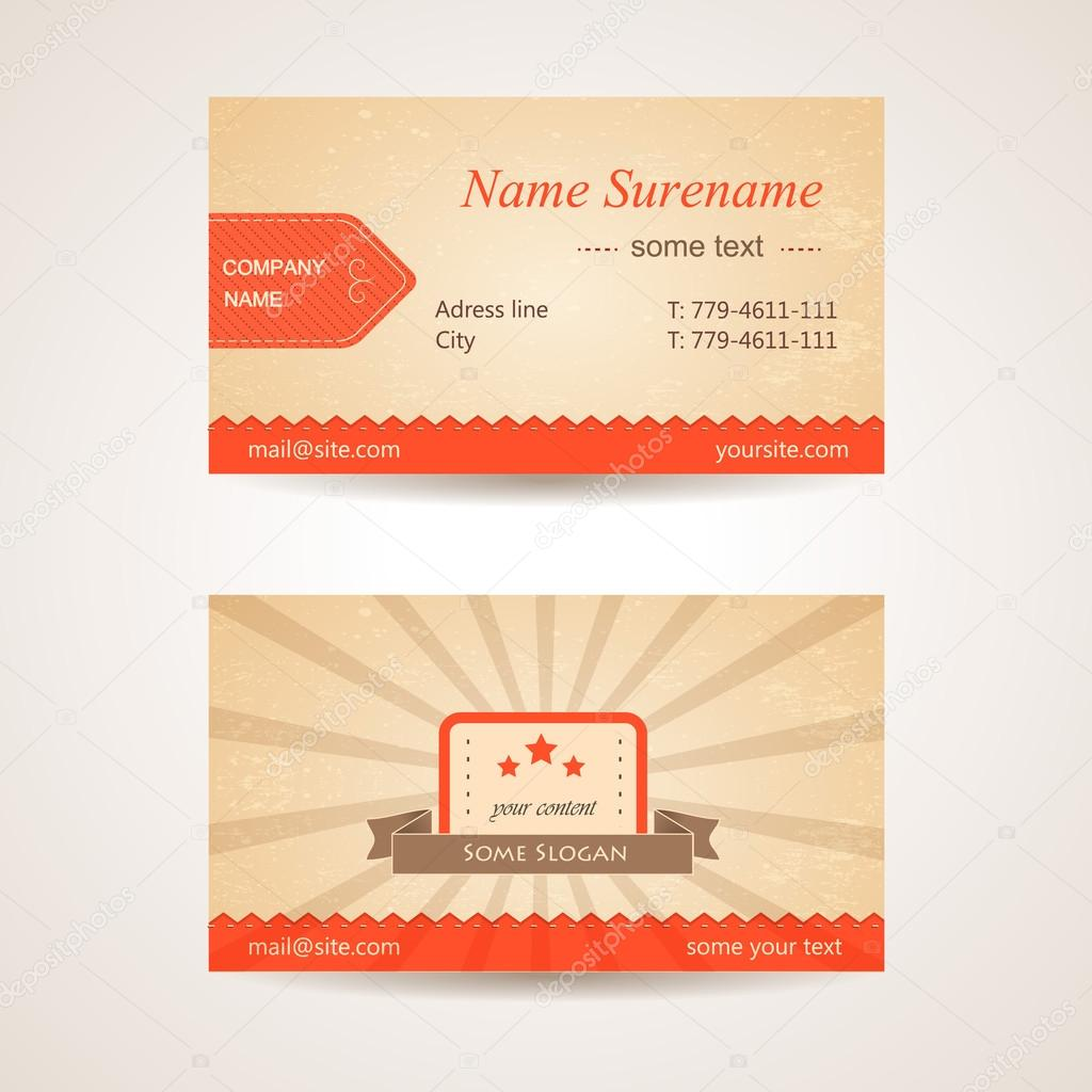 Vector retro business card. Front and back side — Stock Vector ...
