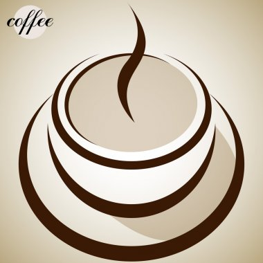 Coffee cup shape. Abstract background. Trendy