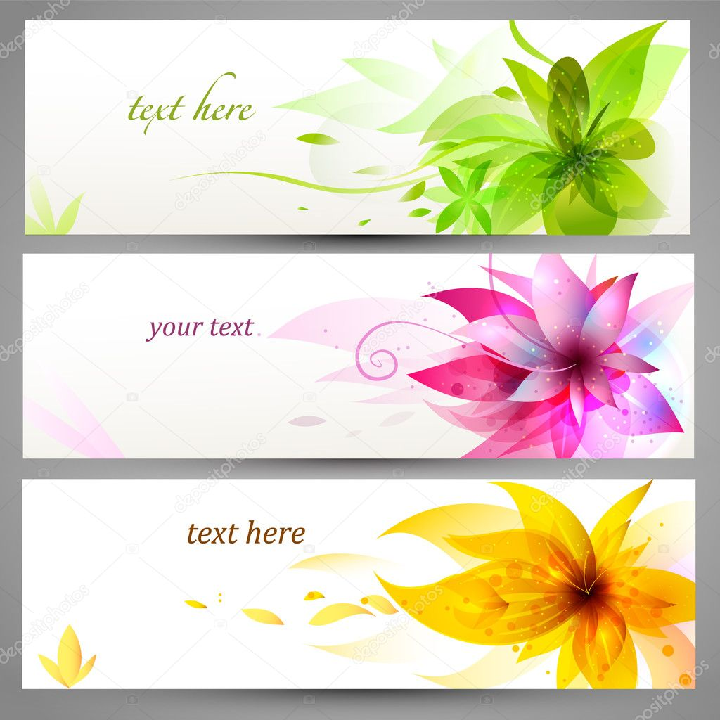 Flower vector background brochure template, set of banners