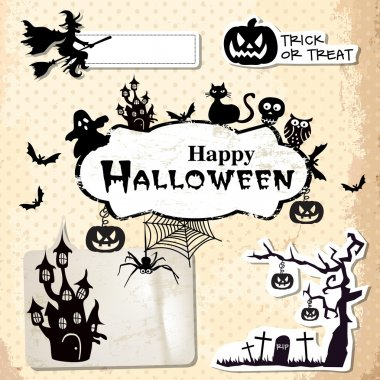 Collection of vector grunge halloween labels, stickers and icons
