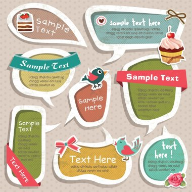 Collection of cute grunge speech bubbles text box and scrapbook elements stock vector