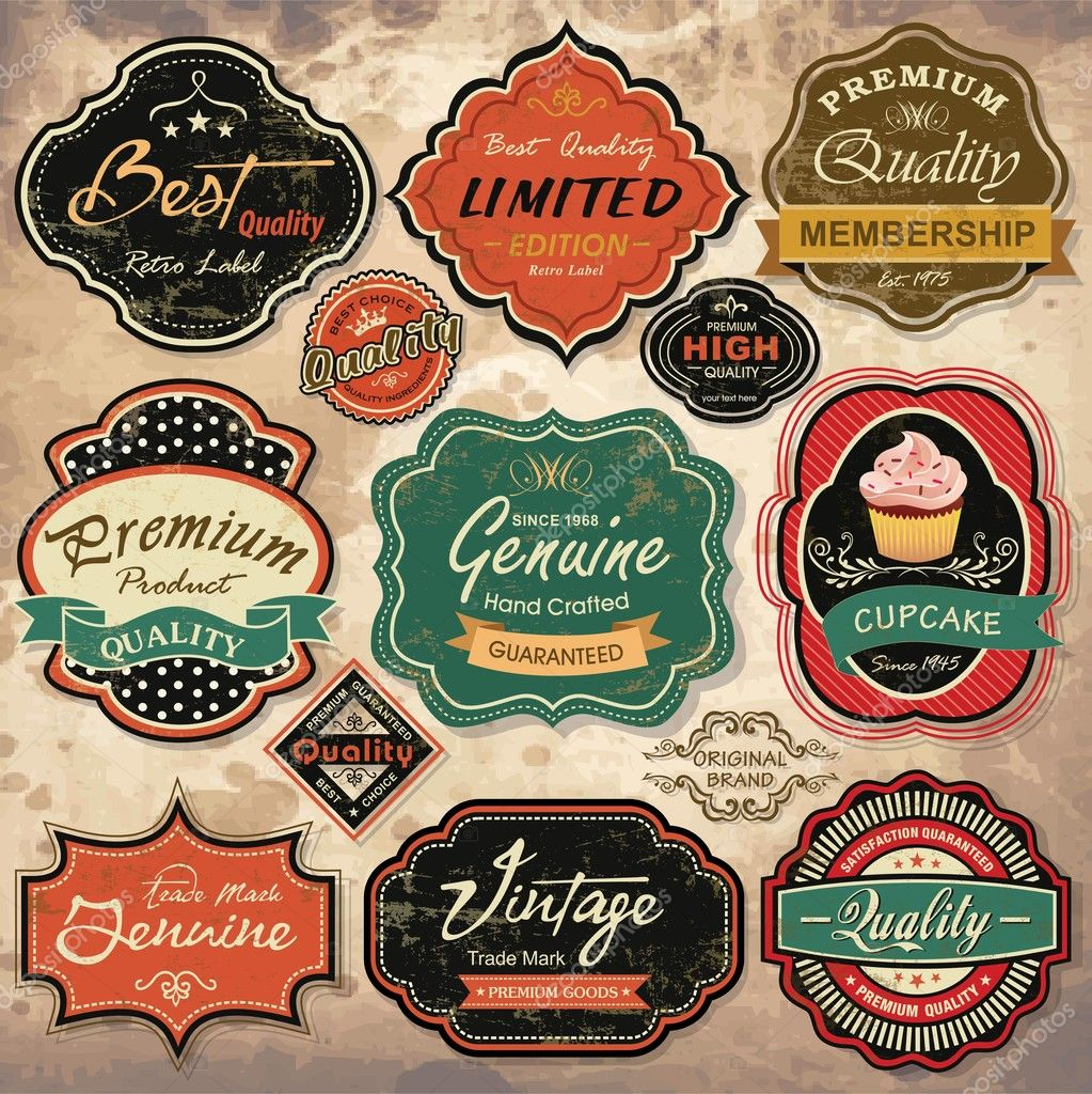 Collection of vintage retro grunge labels, badges and icons