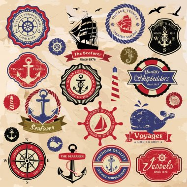 vintage retro nautical labels