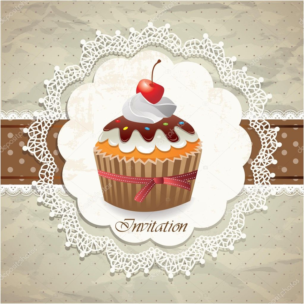 Vintage Card With Cupcake Stock Vector 169 Catherinechin