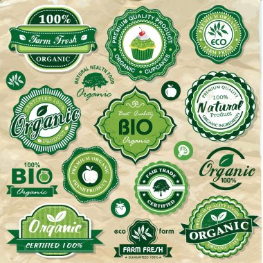 Collection of vintage retro grunge bio and eco organic labels natural products clip art vector