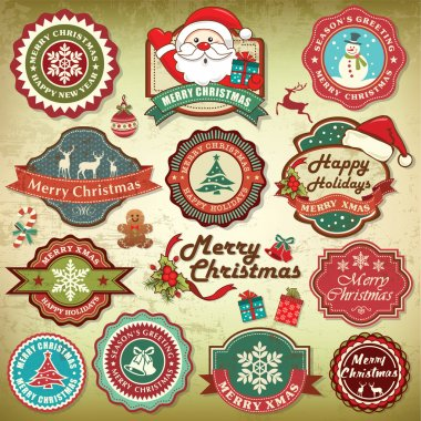Collection of vintage retro grunge christmas labels, badges and icons stock vector