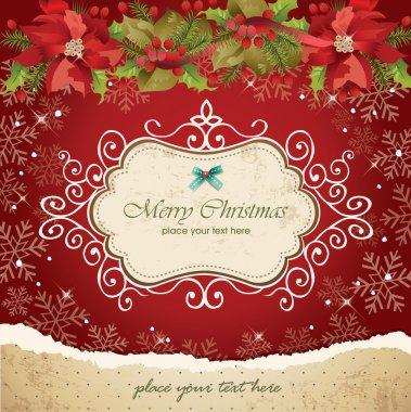 Vintage christmas frame background