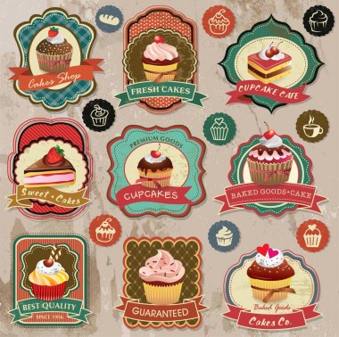 Collection of vintage retro various cupcakes labels, badges and icons clip art vector