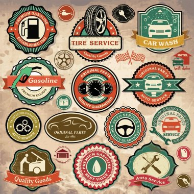 Collection of vintage retro grunge car labels, badges and icons