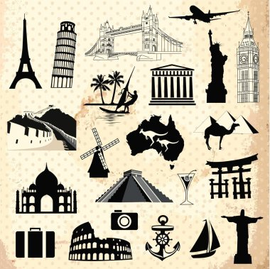 Collection of world famous monument and travel elements