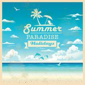 Fotografie Summer beach vector background in retro style