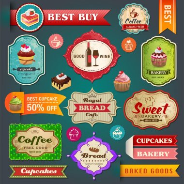 Collection of vintage retro bakery labels, badges and ribbons