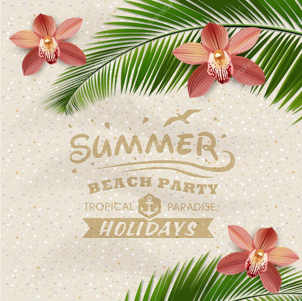 Sandy beach vector background with leaves of palm tree and orchid flower