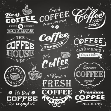 Collection of coffee shop sketches, labels and typography design on a chalkboard background stock vector