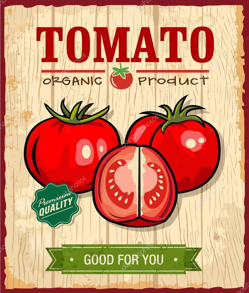 Poster design vintage - Vintage Retro Tomato Poster Design Stock Vector 28602913