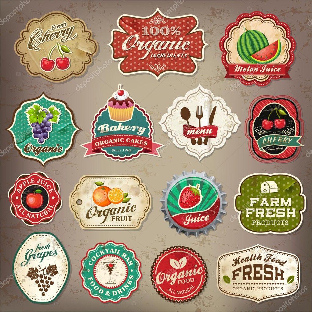 Vintage retro restaurant and organic food label elements