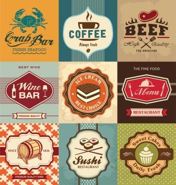 Set of vintage retro labels for food