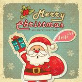 Fényképek Vintage retro karácsonyi kártya aranyos Mikulás