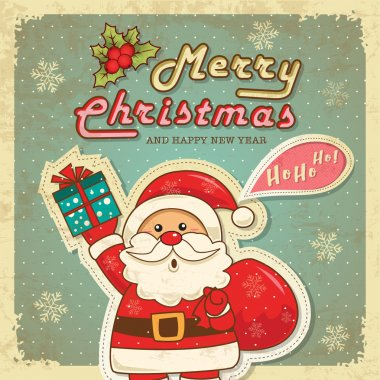 Vintage retro christmas card with cute santa claus