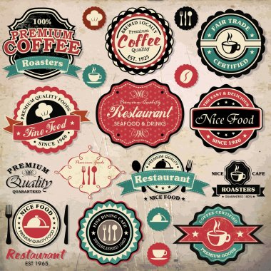 Collection of vintage retro grunge coffee and restaurant labels, badges and icons