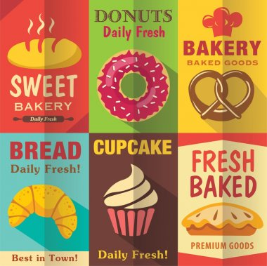 Bakery posters set with flat design. Vector background