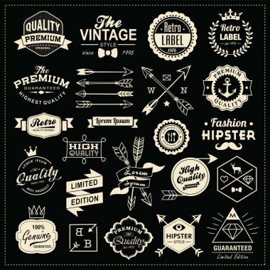 Collection of vintage labels, arrows, ribbons, symbols and design elements clip art vector